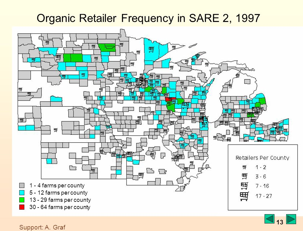 13 Organic Retailer Frequency in SARE 2, 1997 1 - 4 farms per county 5 - 12 farms per county 13 - 29 farms per county 30 - 64 farms per county Support: A.