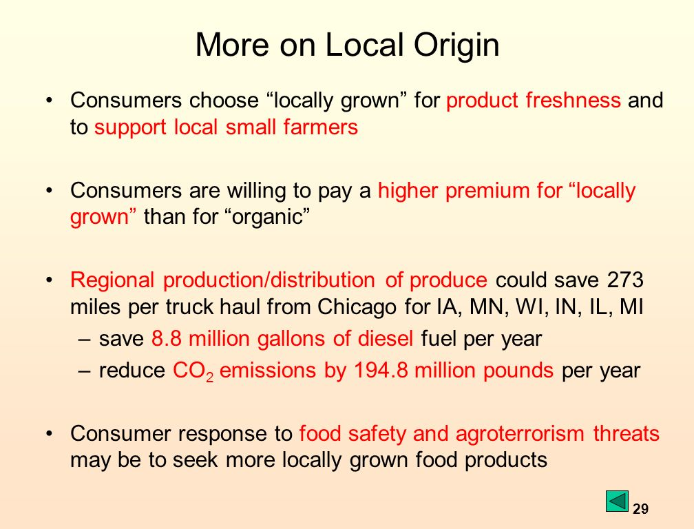 29 More on Local Origin Consumers choose locally grown for product freshness and to support local small farmers Consumers are willing to pay a higher premium for locally grown than for organic Regional production/distribution of produce could save 273 miles per truck haul from Chicago for IA, MN, WI, IN, IL, MI –save 8.8 million gallons of diesel fuel per year –reduce CO 2 emissions by 194.8 million pounds per year Consumer response to food safety and agroterrorism threats may be to seek more locally grown food products