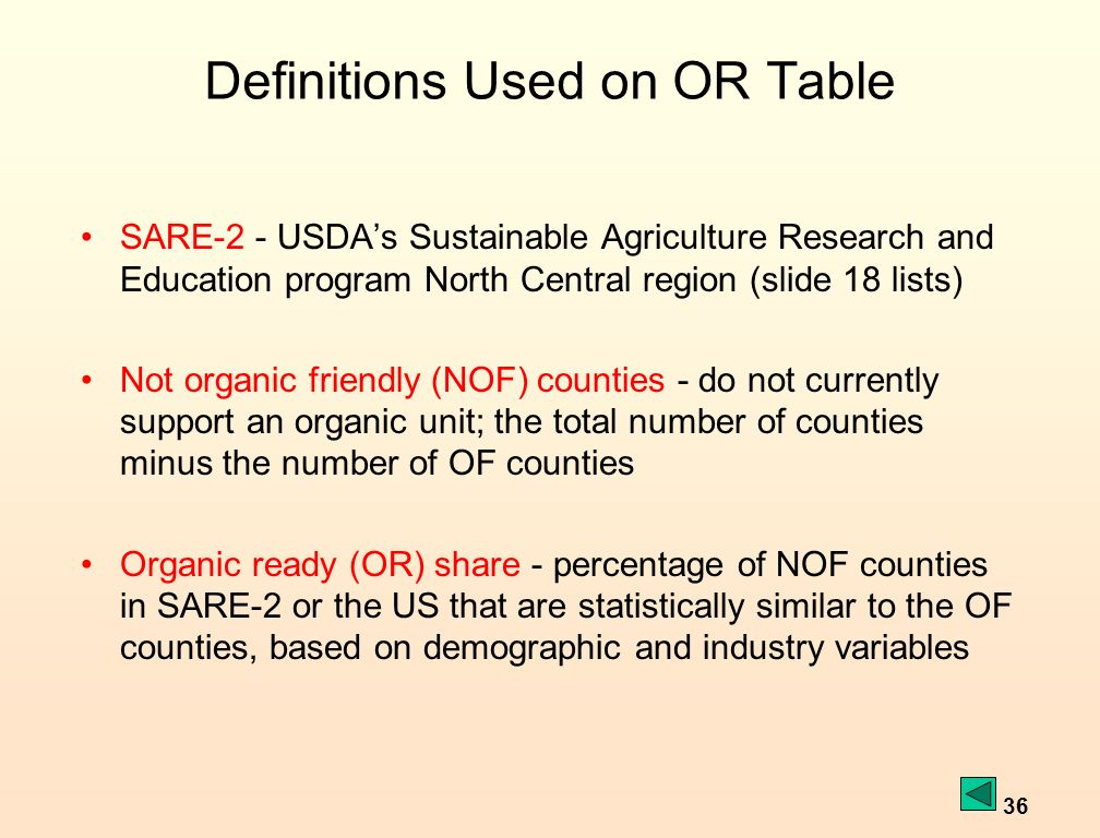 36 Definitions Used on OR Table SARE-2 - USDAs Sustainable Agriculture Research and Education program North Central region (slide 18 lists) Not organic friendly (NOF) counties - do not currently support an organic unit; the total number of counties minus the number of OF counties Organic ready (OR) share - percentage of NOF counties in SARE-2 or the US that are statistically similar to the OF counties, based on demographic and industry variables