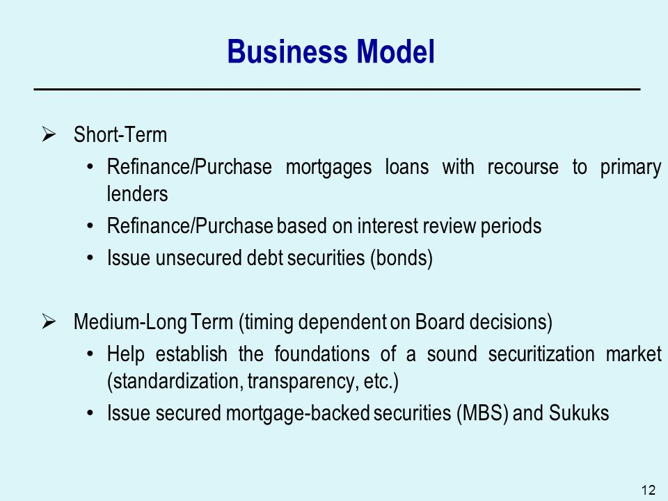 12 Business Model Short-Term Refinance/Purchase mortgages loans with recourse to primary lenders Refinance/Purchase based on interest review periods Issue unsecured debt securities (bonds) Medium-Long Term (timing dependent on Board decisions) Help establish the foundations of a sound securitization market (standardization, transparency, etc.) Issue secured mortgage-backed securities (MBS) and Sukuks