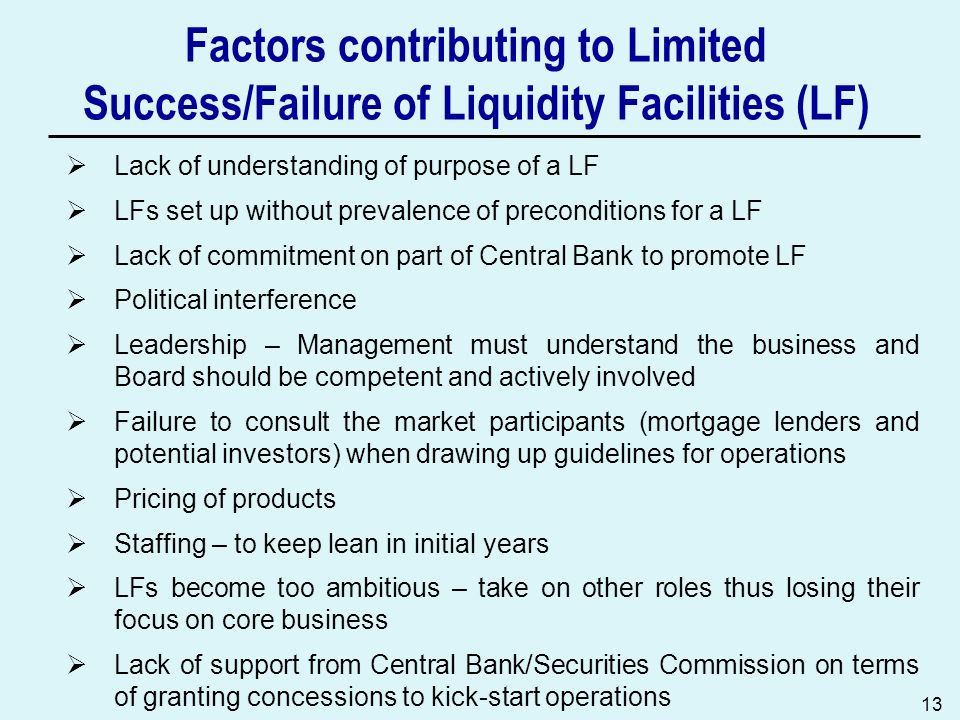 13 Factors contributing to Limited Success/Failure of Liquidity Facilities (LF) Lack of understanding of purpose of a LF LFs set up without prevalence