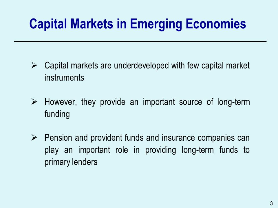 3 Capital Markets in Emerging Economies Capital markets are underdeveloped with few capital market instruments However, they provide an important sour