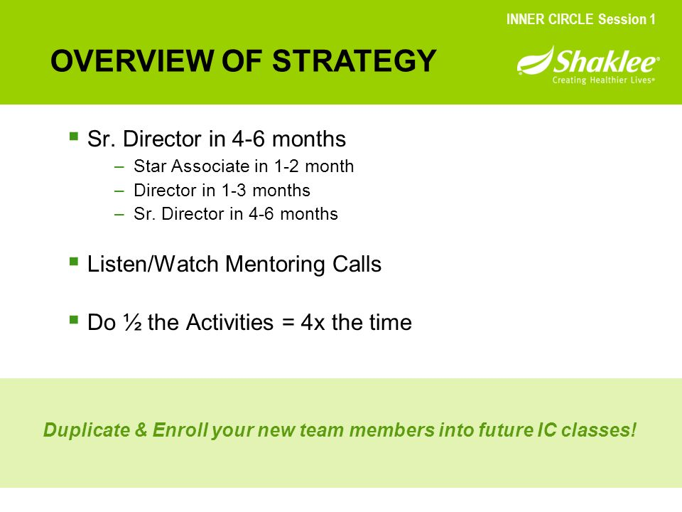 OVERVIEW OF STRATEGY INNER CIRCLE Session 1 Sr. Director in 4-6 months –Star Associate in 1-2 month –Director in 1-3 months –Sr. Director in 4-6 month