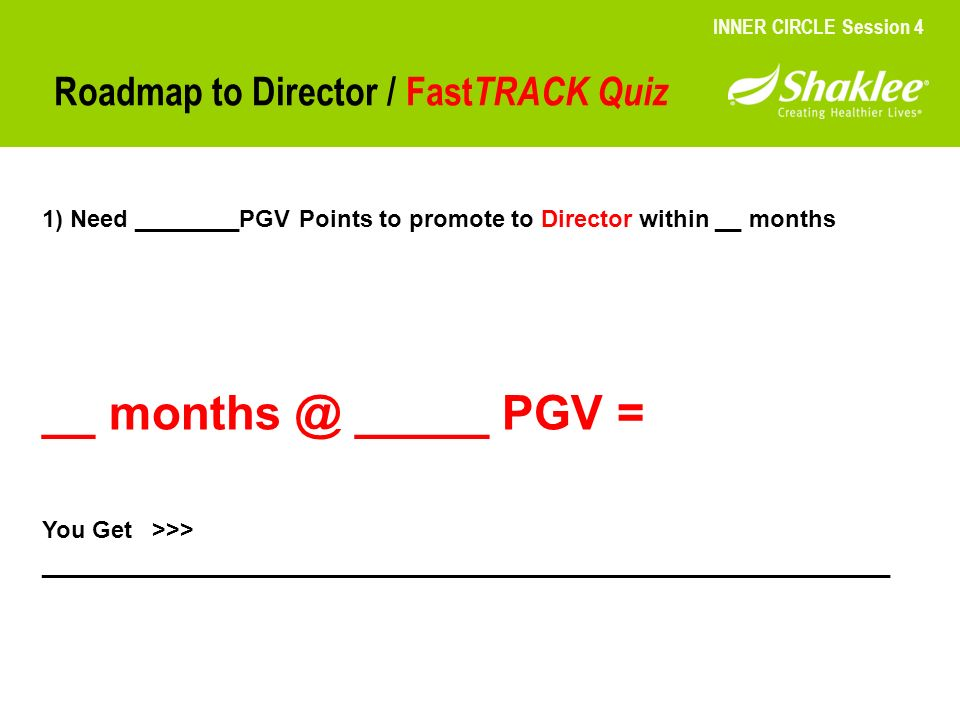 Roadmap to Director / Fast TRACK Quiz INNER CIRCLE Session 4 1) Need ________PGV Points to promote to Director within __ months __ months @ _____ PGV