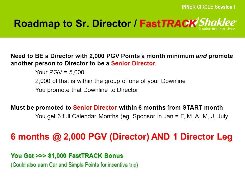 FastTRACK Roadmap to Sr. Director / FastTRACK INNER CIRCLE Session 1 Need to BE a Director with 2,000 PGV Points a month minimum and promote another p