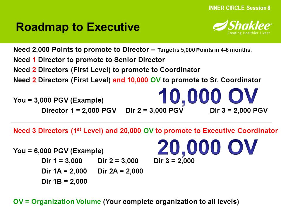 Roadmap to Executive Need 2,000 Points to promote to Director – Target is 5,000 Points in 4-6 months. Need 1 Director to promote to Senior Director Ne