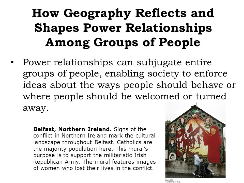 Power relationships can subjugate entire groups of people, enabling society to enforce ideas about the ways people should behave or where people shoul