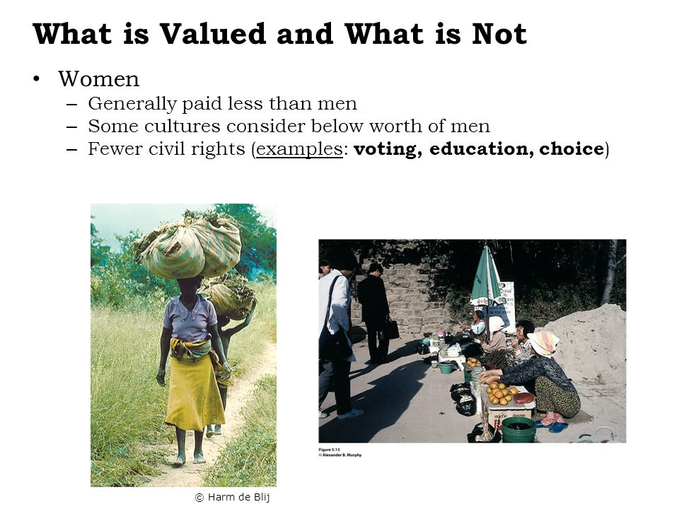 What is Valued and What is Not Women – Generally paid less than men – Some cultures consider below worth of men – Fewer civil rights (examples: voting