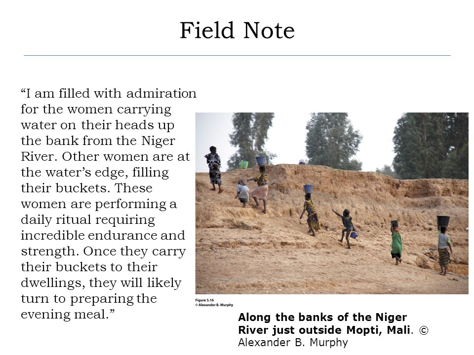 Field Note I am filled with admiration for the women carrying water on their heads up the bank from the Niger River. Other women are at the waters edg