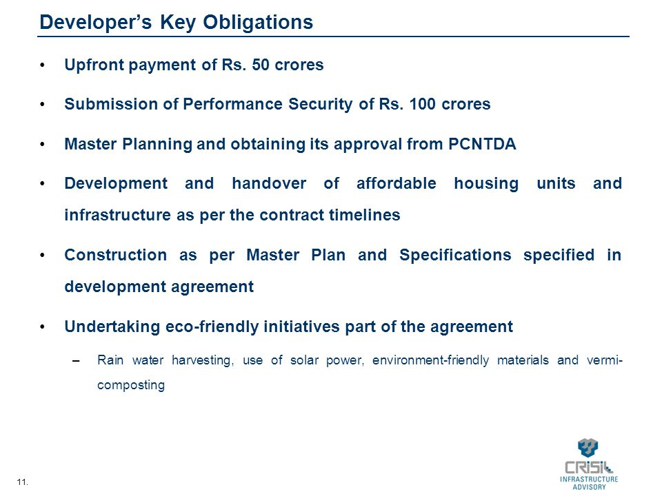 11. Developers Key Obligations Upfront payment of Rs.