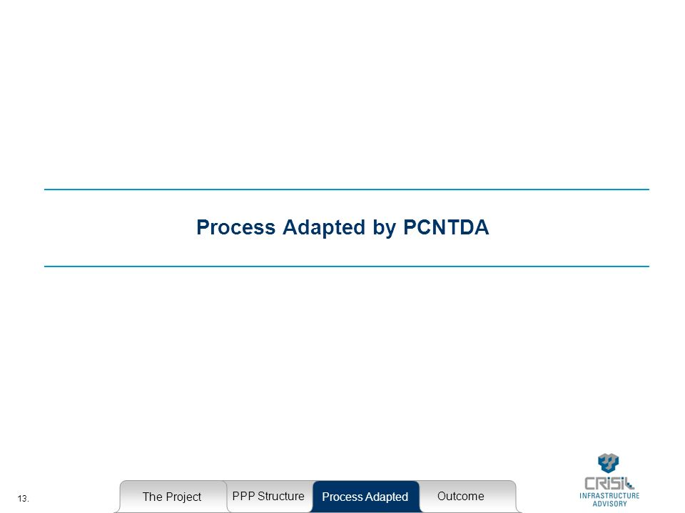 13. Process Adapted by PCNTDA The Project PPP StructureOutcome Process Adapted