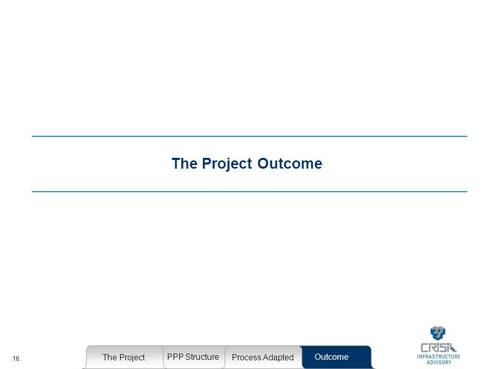 16. The Project Outcome The Project PPP StructureOutcome Process Adapted