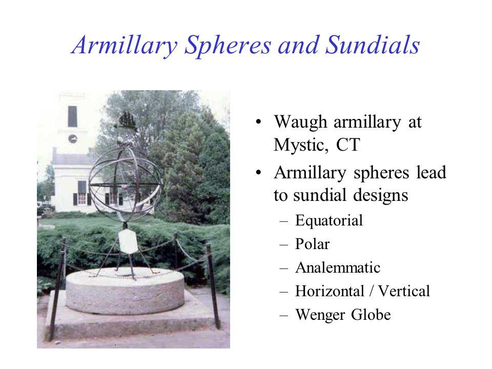 Armillary Spheres and Sundials Waugh armillary at Mystic, CT Armillary spheres lead to sundial designs –Equatorial –Polar –Analemmatic –Horizontal / V