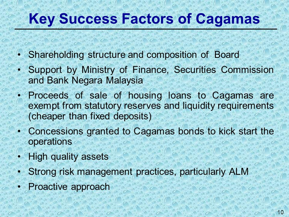 10 Key Success Factors of Cagamas Shareholding structure and composition of Board Support by Ministry of Finance, Securities Commission and Bank Negar