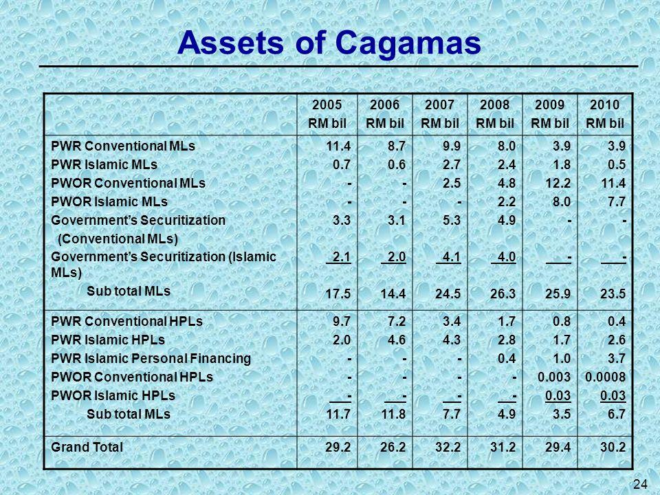 24 Assets of Cagamas 2005 RM bil 2006 RM bil 2007 RM bil 2008 RM bil 2009 RM bil 2010 RM bil PWR Conventional MLs PWR Islamic MLs PWOR Conventional ML