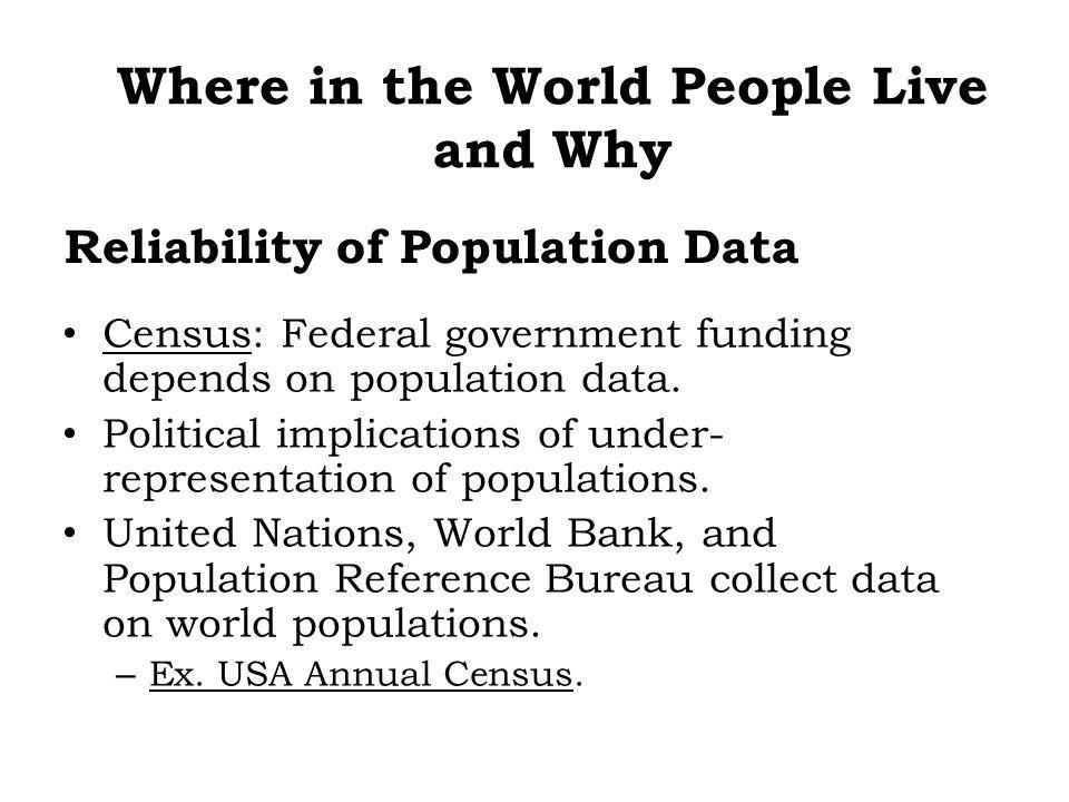 Census: Federal government funding depends on population data. Political implications of under- representation of populations. United Nations, World B
