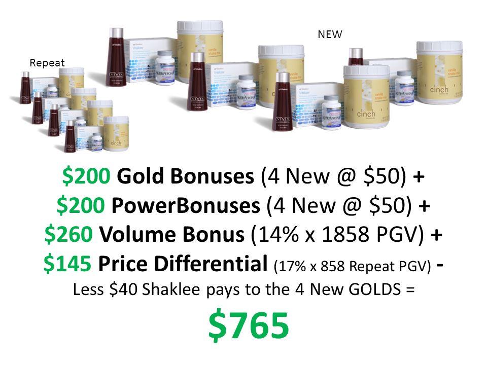$200 Gold Bonuses (4 New @ $50) + $200 PowerBonuses (4 New @ $50) + $260 Volume Bonus (14% x 1858 PGV) + $145 Price Differential (17% x 858 Repeat PGV