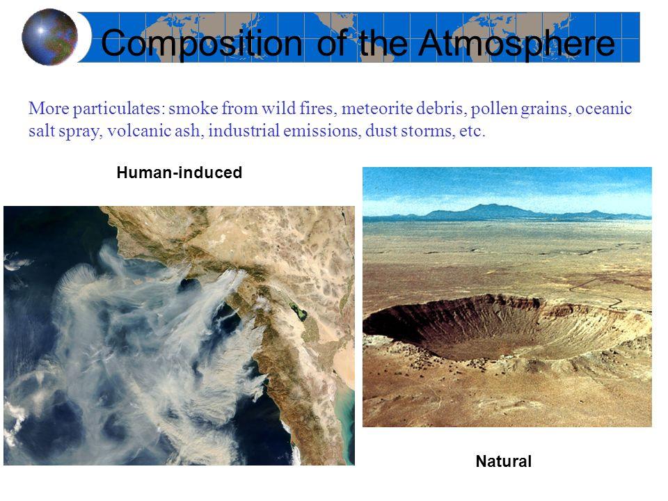 More particulates: smoke from wild fires, meteorite debris, pollen grains, oceanic salt spray, volcanic ash, industrial emissions, dust storms, etc. C