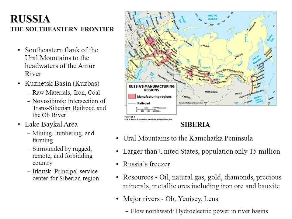 RUSSIA THE SOUTHEASTERN FRONTIER Southeastern flank of the Ural Mountains to the headwaters of the Amur River Kuznetsk Basin (Kuzbas) Raw Materials, I