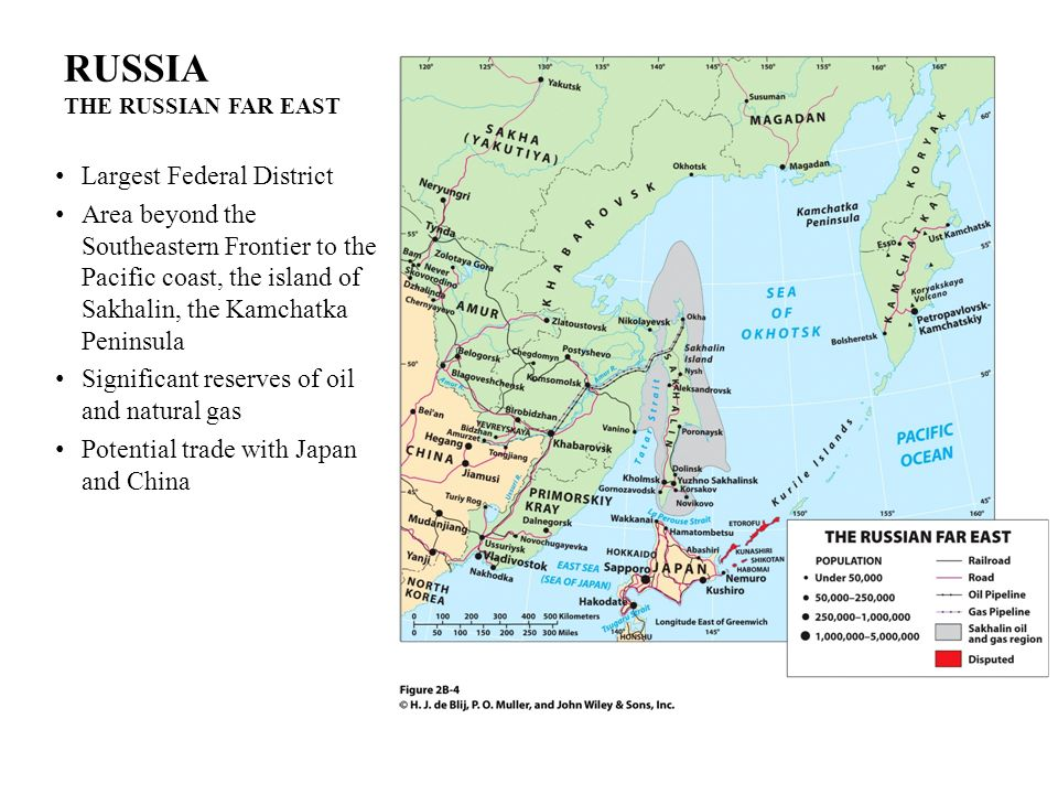 RUSSIA THE RUSSIAN FAR EAST Largest Federal District Area beyond the Southeastern Frontier to the Pacific coast, the island of Sakhalin, the Kamchatka