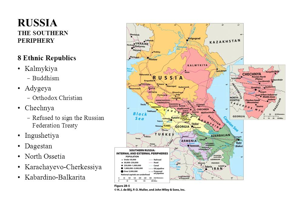 RUSSIA THE SOUTHERN PERIPHERY 8 Ethnic Republics Kalmykiya Buddhism Adygeya Orthodox Christian Chechnya Refused to sign the Russian Federation Treaty