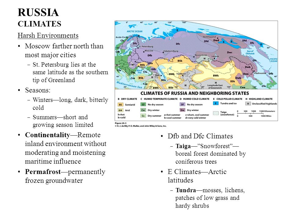RUSSIA CLIMATES Harsh Environments Moscow farther north than most major cities St. Petersburg lies at the same latitude as the southern tip of Greenla