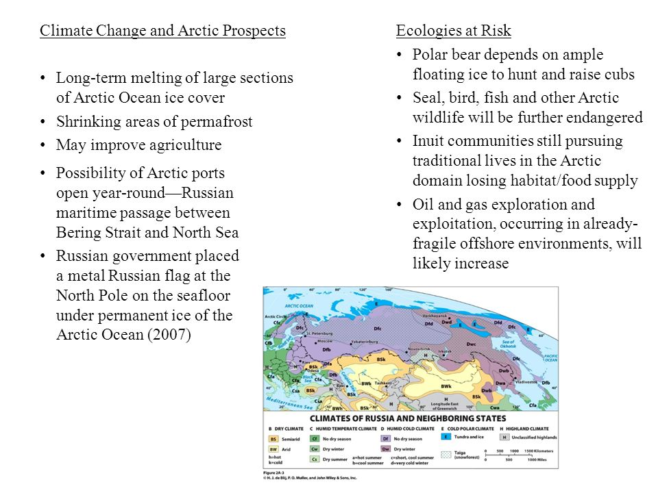 Climate Change and Arctic Prospects Long-term melting of large sections of Arctic Ocean ice cover Shrinking areas of permafrost May improve agricultur