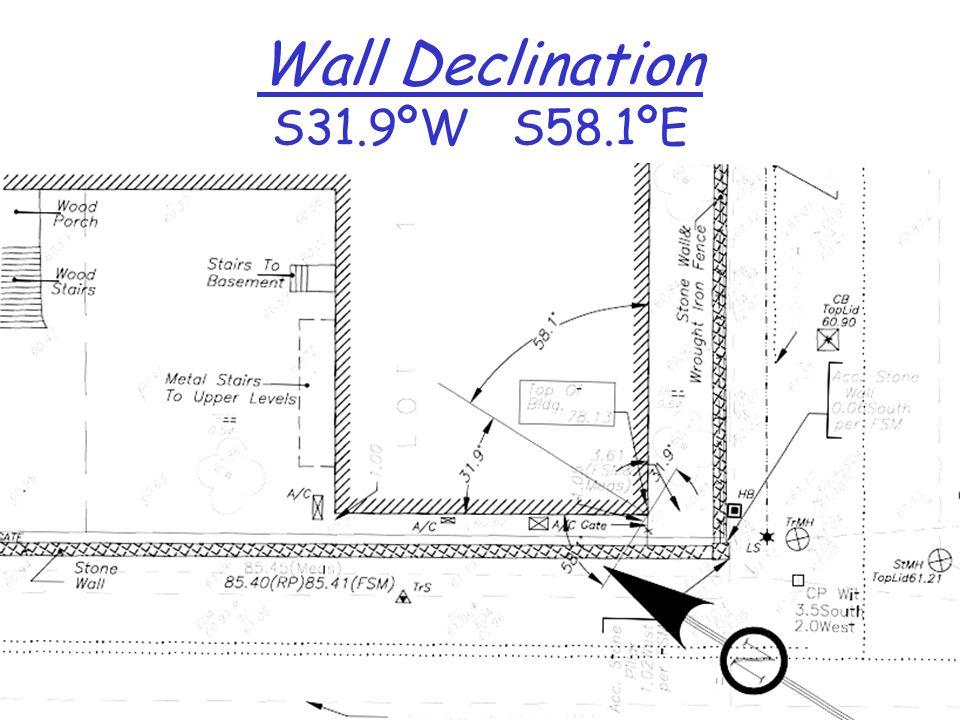 Wall Declination S31.9ºW S58.1ºE