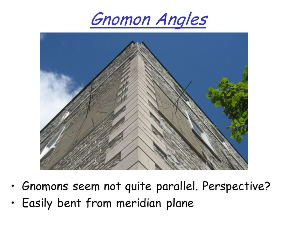 Gnomon Angles Gnomons seem not quite parallel. Perspective? Easily bent from meridian plane