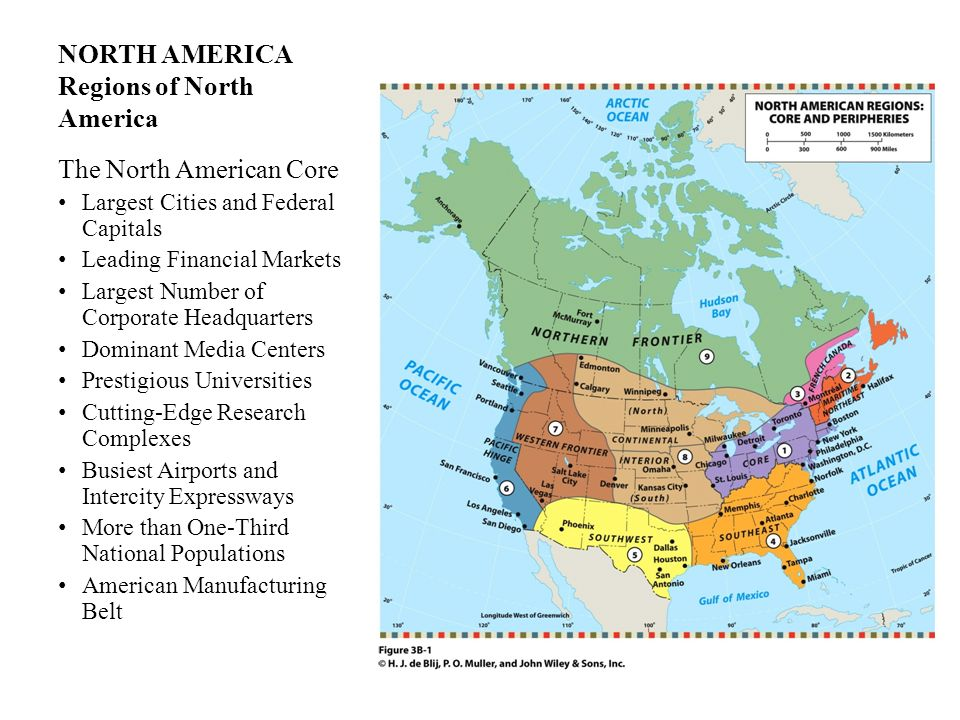 NORTH AMERICA Regions of North America The North American Core Largest Cities and Federal Capitals Leading Financial Markets Largest Number of Corpora