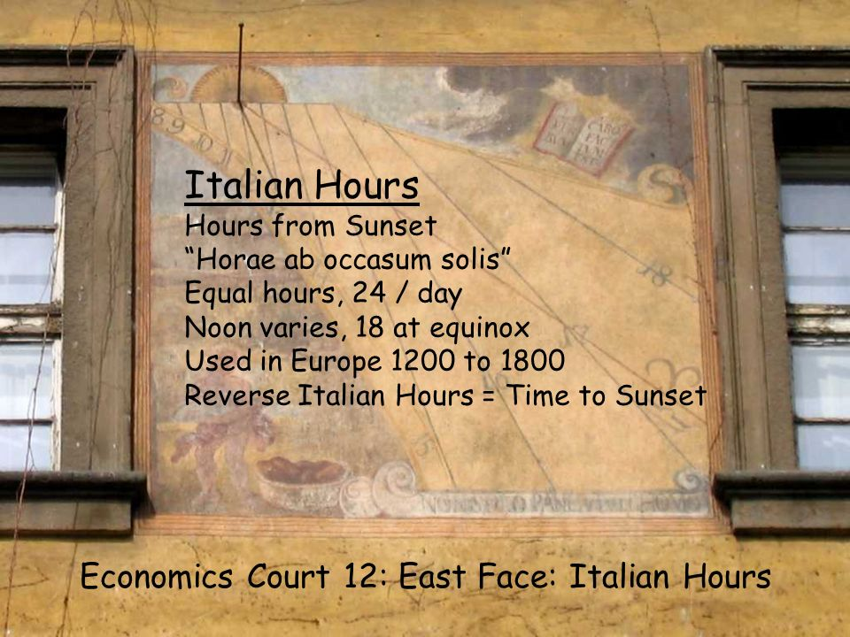 EC12 S Italian Economics Court 12: East Face: Italian Hours Italian Hours Hours from Sunset Horae ab occasum solis Equal hours, 24 / day Noon varies,