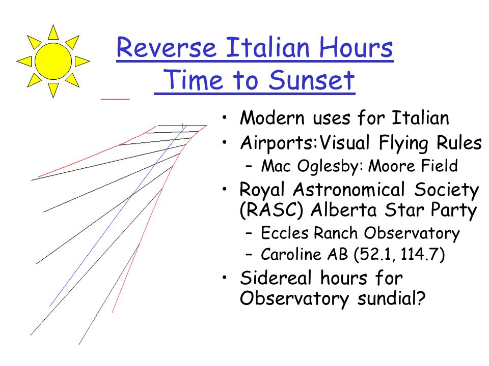 Reverse Italian Hours Time to Sunset Modern uses for Italian Airports:Visual Flying Rules –Mac Oglesby: Moore Field Royal Astronomical Society (RASC)