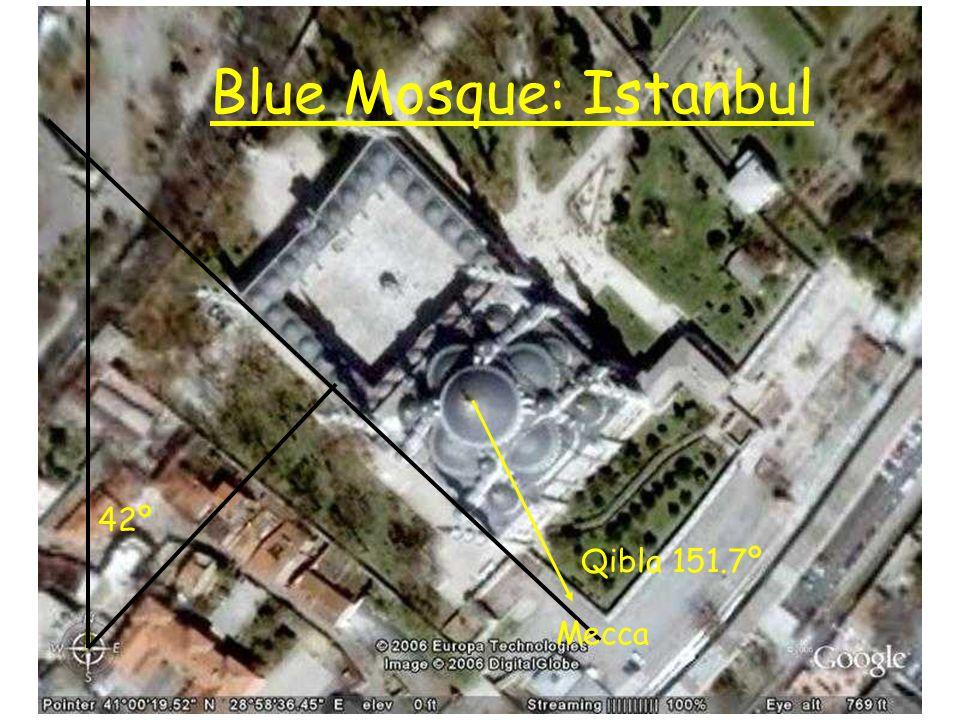Blue Mosque: Istanbul 42º Qibla 151.7º Mecca