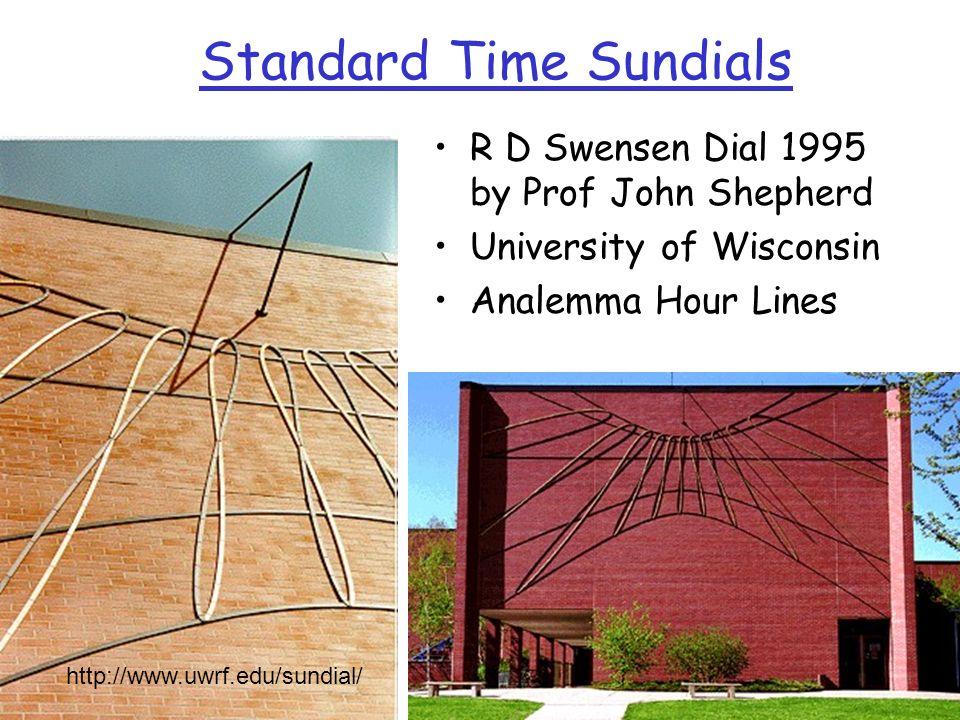 Standard Time Sundials R D Swensen Dial 1995 by Prof John Shepherd University of Wisconsin Analemma Hour Lines http://www.uwrf.edu/sundial/