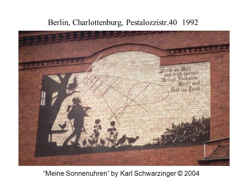 Berlin, Charlottenburg, Pestalozzistr.40 1992 Meine Sonnenuhren by Karl Schwarzinger © 2004