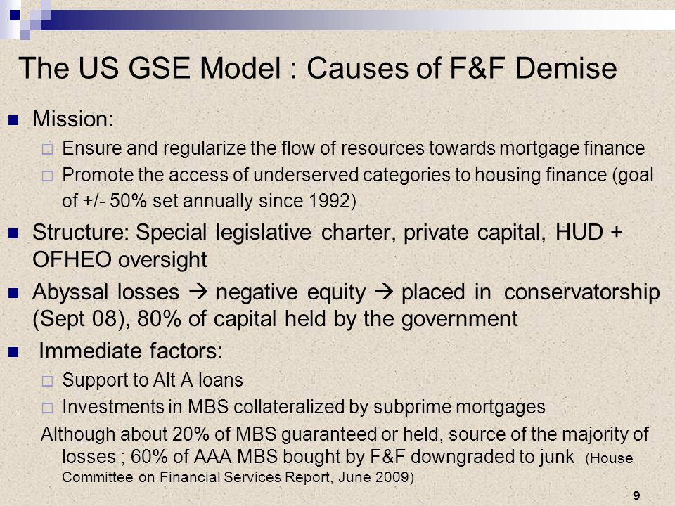 The US GSE Model : Causes of F&F Demise Mission: Ensure and regularize the flow of resources towards mortgage finance Promote the access of underserved categories to housing finance (goal of +/- 50% set annually since 1992) Structure: Special legislative charter, private capital, HUD + OFHEO oversight Abyssal losses negative equity placed in conservatorship (Sept 08), 80% of capital held by the government Immediate factors: Support to Alt A loans Investments in MBS collateralized by subprime mortgages Although about 20% of MBS guaranteed or held, source of the majority of losses ; 60% of AAA MBS bought by F&F downgraded to junk (House Committee on Financial Services Report, June 2009) 9