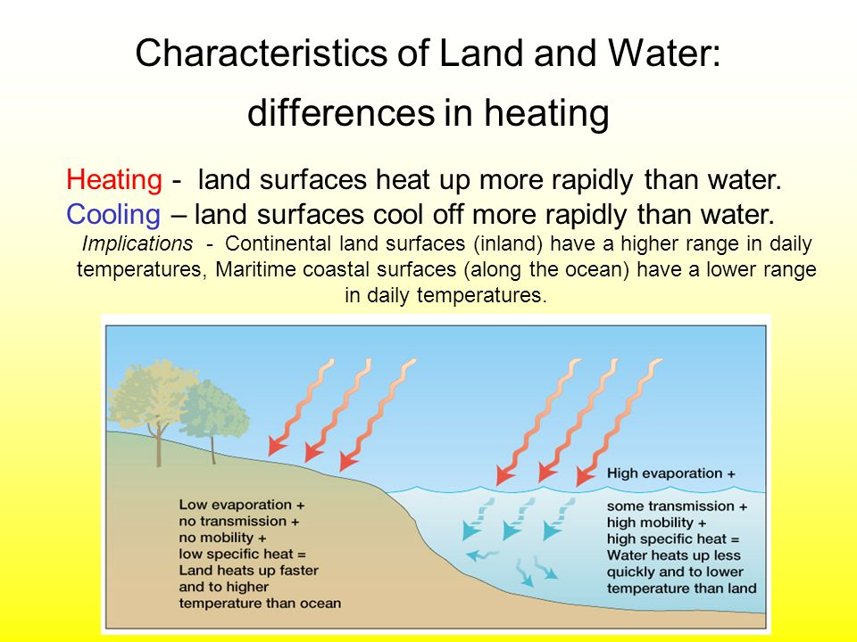 Characteristics of Land and Water: differences in heating Heating - land surfaces heat up more rapidly than water. Cooling – land surfaces cool off mo