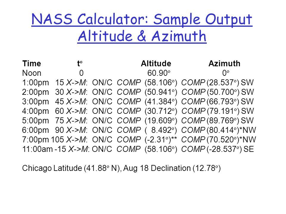 NASS Calculator: Sample Output Altitude & Azimuth Time t º Altitude Azimuth Noon0 60.90 º 0 º 1:00pm 15 X->M: ON/C COMP (58.106 º ) COMP (28.537 º ) S
