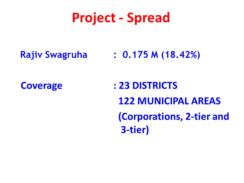 Project - Spread Rajiv Swagruha : 0.175 M (18.42%) Coverage: 23 DISTRICTS 122 MUNICIPAL AREAS (Corporations, 2-tier and 3-tier)