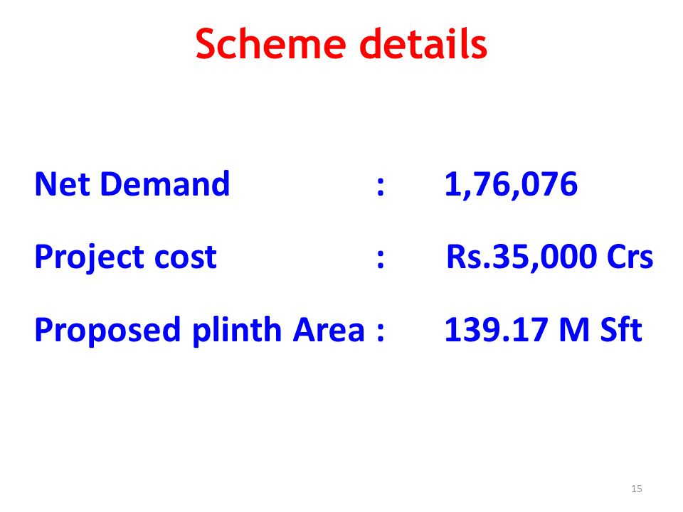 15 Scheme details Net Demand: 1,76,076 Project cost : Rs.35,000 Crs Proposed plinth Area: 139.17 M Sft