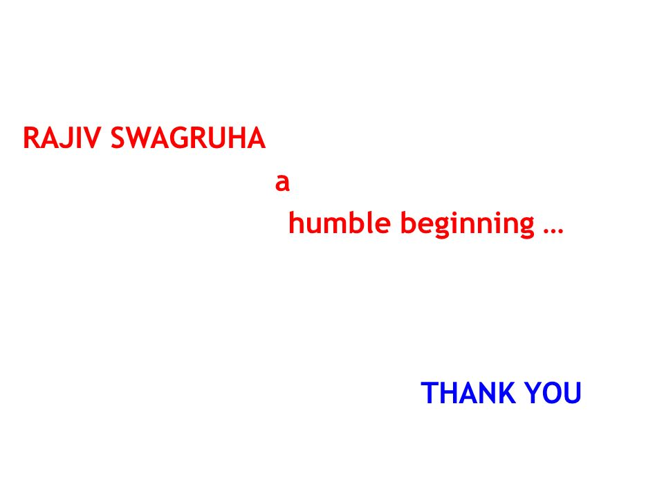 RAJIV SWAGRUHA a humble beginning … THANK YOU