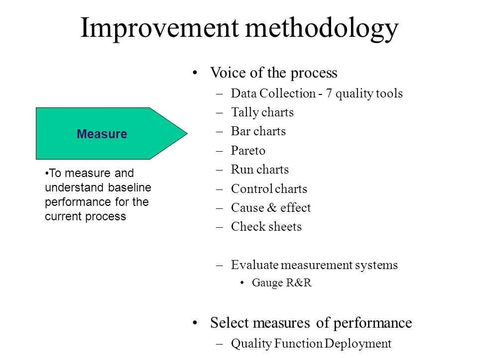 Measure Improvement methodology Voice of the process –Data Collection - 7 quality tools –Tally charts –Bar charts –Pareto –Run charts –Control charts