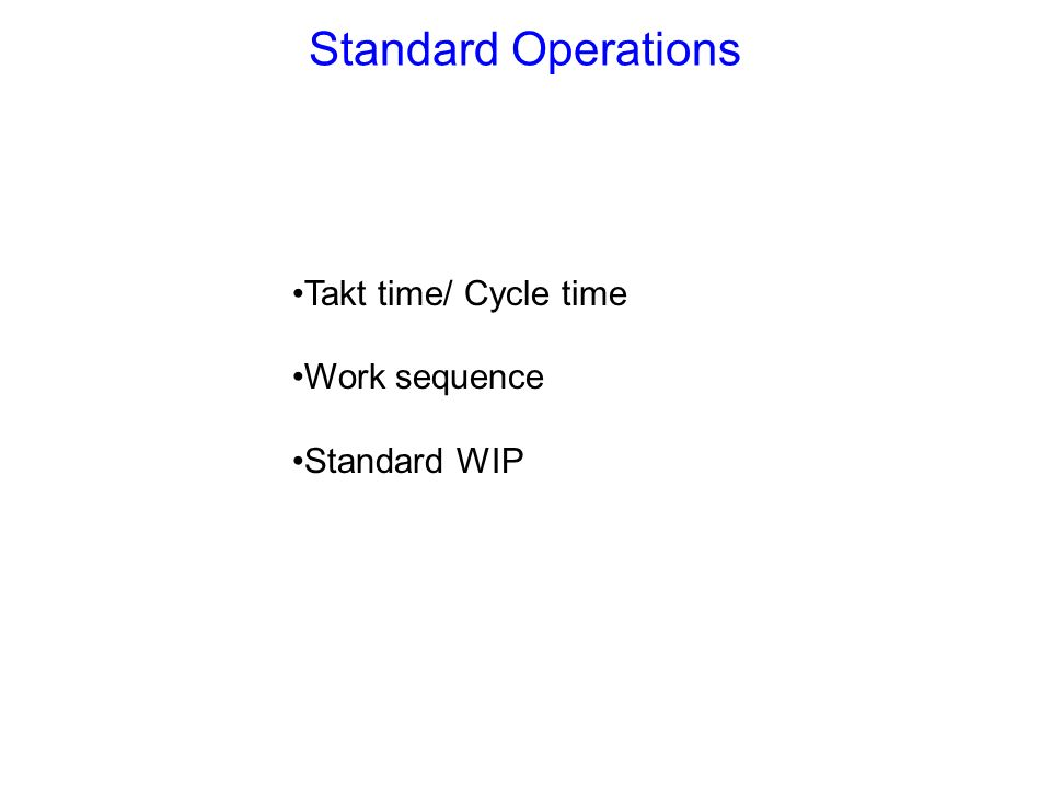 Standard Operations Takt time/ Cycle time Work sequence Standard WIP
