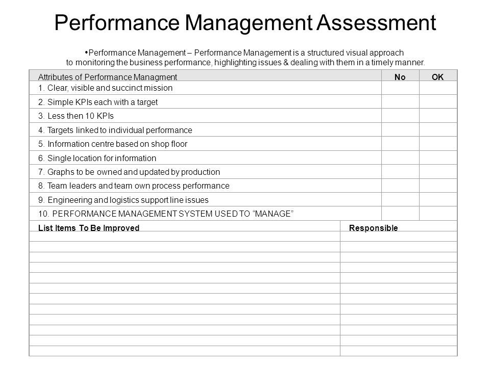 Attributes of Performance ManagmentNoOK 1. Clear, visible and succinct mission 2. Simple KPIs each with a target 3. Less then 10 KPIs 4. Targets linke