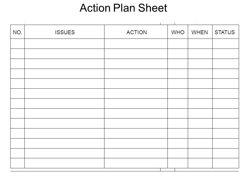 NO.ISSUESACTIONWHOWHENSTATUS Action Plan Sheet