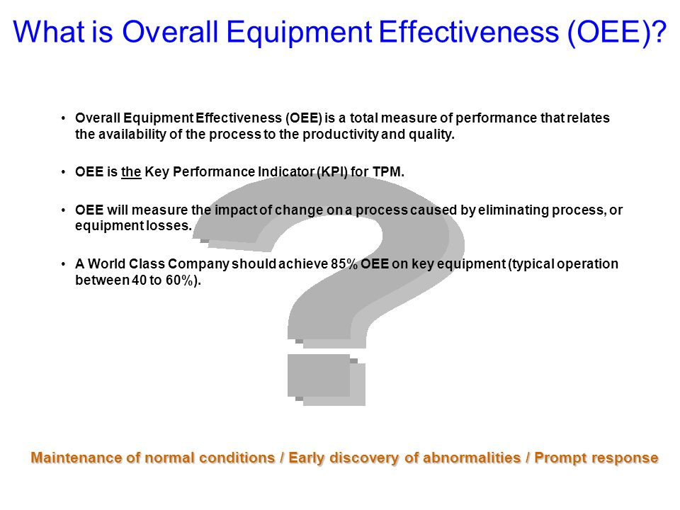 What is Overall Equipment Effectiveness (OEE)? Overall Equipment Effectiveness (OEE) is a total measure of performance that relates the availability o