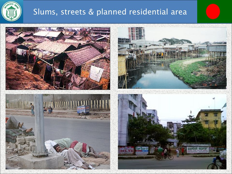 Slums, streets & planned residential area