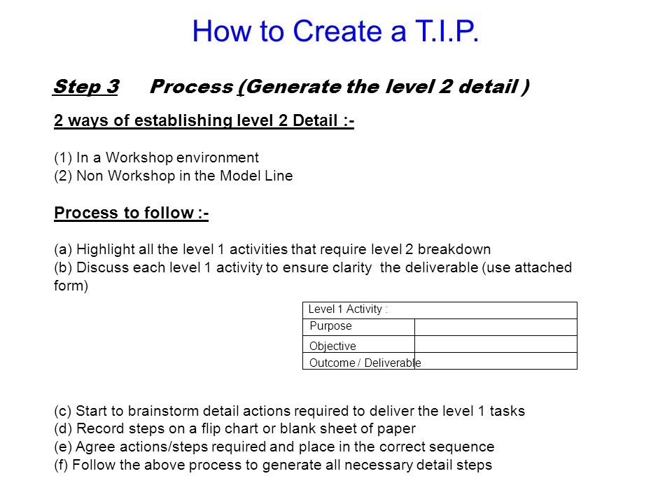 Step 3 Process (Generate the level 2 detail ) 2 ways of establishing level 2 Detail :- (1) In a Workshop environment (2) Non Workshop in the Model Lin
