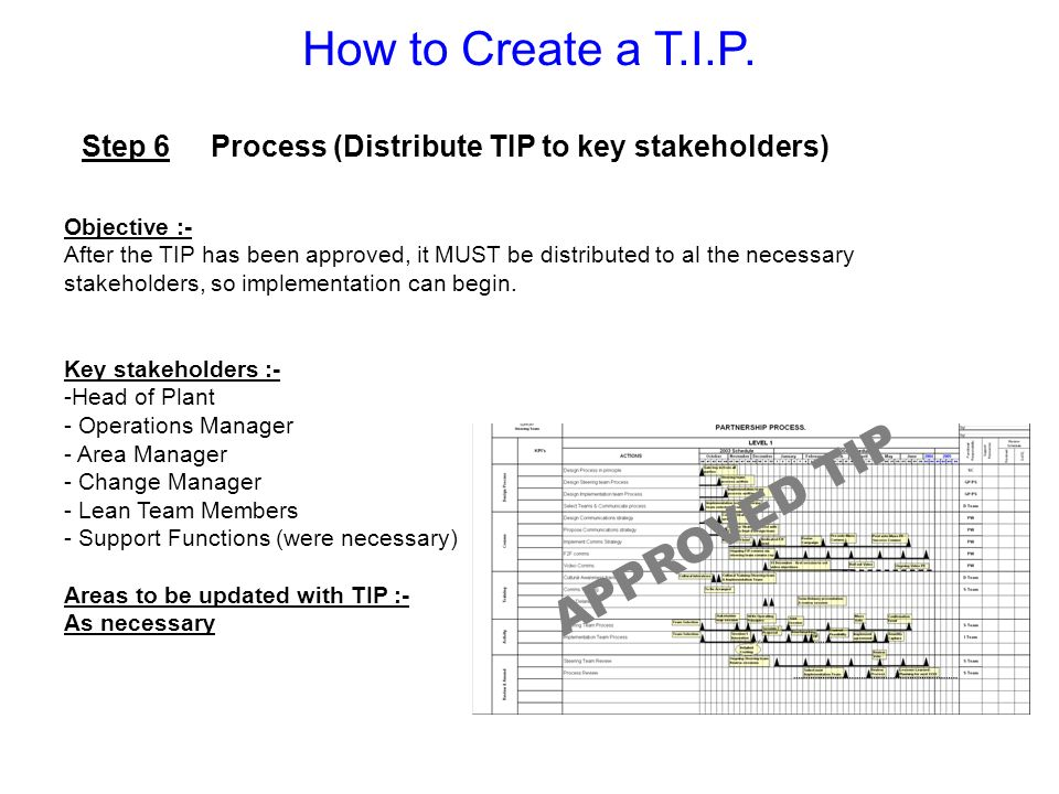 Step 6 Process (Distribute TIP to key stakeholders) Objective :- After the TIP has been approved, it MUST be distributed to al the necessary stakehold