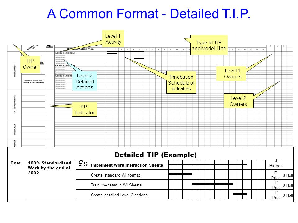 A Common Format - Detailed T.I.P. Detailed TIP (Example) 100% Standardised Work by the end of 2002 £s Implement Work Instruction Sheets Create standar